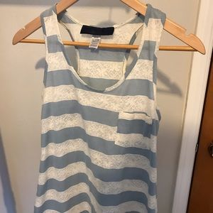 Blue & White Striped Racerback Top w/ Lace Detail